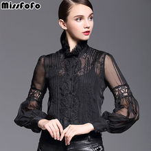 MissFoFo Band Lantern Floral Bow Blouse Commercial 2017 Slim Shirt White Female Elegant Embroidery Slim Black One Piece Shirt 2(China)