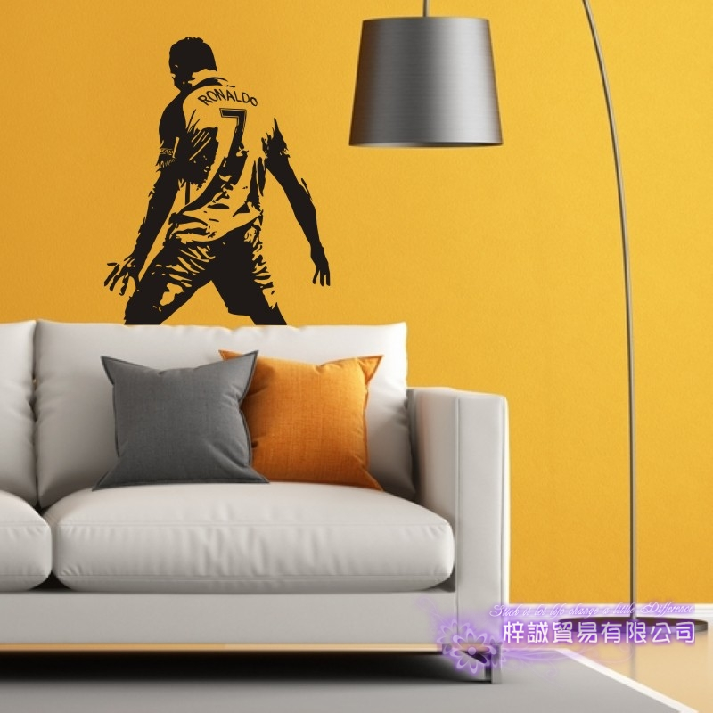 DCTAL Cristiano Ronaldo Football Player Sticker Sports Soccer Decal Helmets Kids Room Name Posters Vinyl Wall Decals