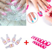 26 Pcs/ Pack 10 Size Nail Gel Model Clip Overflow Prevention Tool + 5PCS 10g Nail Fast Drying False Glue 88 H7JP(China)