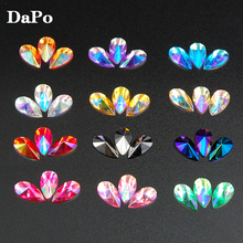 8x13mm Tear Drop Shape Acrylic Rhinestones 100Pcs 13Colors Glue On Flatback Pointed Stones Strass For DIY Crafts Jewelry Making