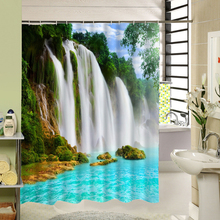 2016 Real 3d Waterfall Scenic Waterproof Home Decoration Shower Curtain Beach Bathroom Products Polyester Bath Cortina De Bano(China)