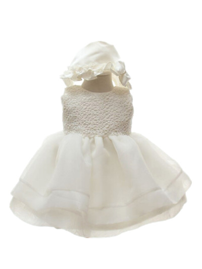 BABY WOW Ivory Baby Girl Christening Dress+hat for Wedding 1 Year Birthday Party Bautizo First Communion Dresses for Girls 70987<br><br>Aliexpress