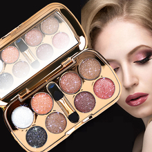 2017 New Smoky Eye Shadow Brand Color Cosmetics Waterproof 8 Color Pigment Mineral Powder Shiny Glitter Eyeshadow Palette(China)
