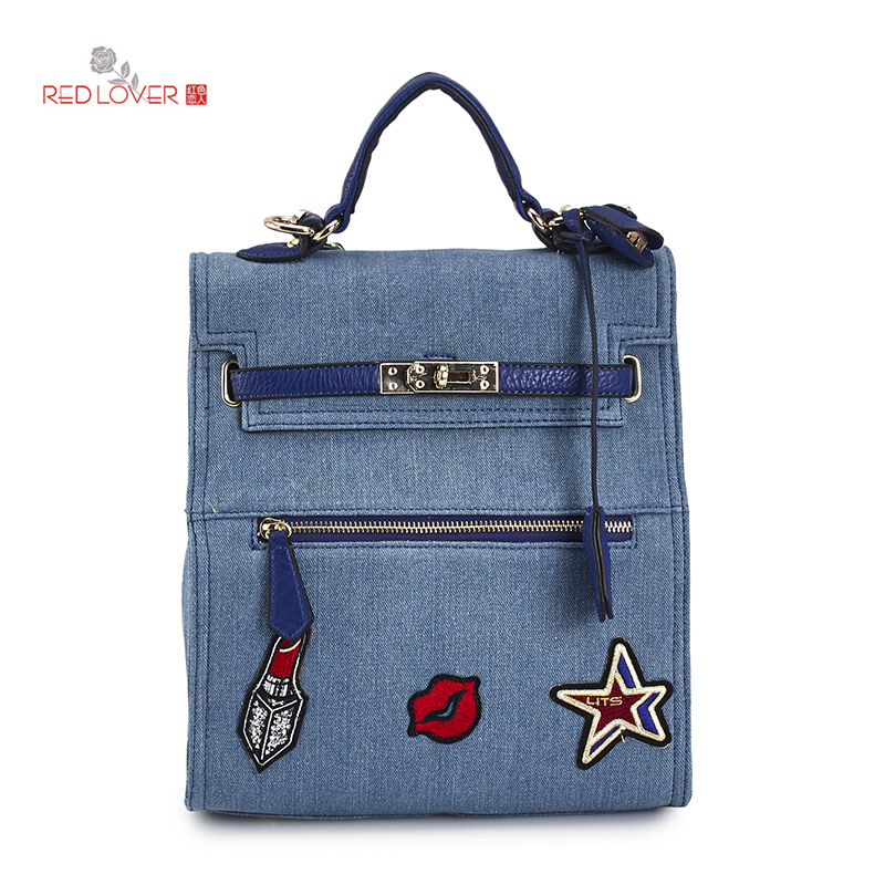 Brand New female backpack denim hand bag Multi-function women bag shoulder bags Canvas Red Lover<br>