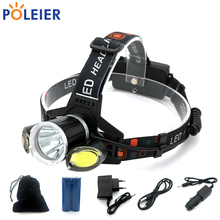 7000 Lumens LED Headlight T6 + COB Headlamp USB Frontal Light Torch Cree chip Waterproof Flashlight Rechargeable 18650 Battery(China)