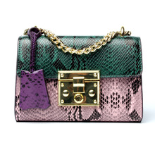 Genuine Leather Serpentine Handmade Luxury Patchwork Women Shoulder Bags Small Women Cross body bag snake skin women satchel bag(China)