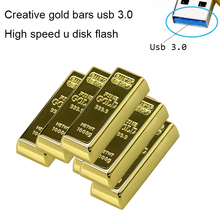 Real Capacity Gold Bar USB 3.0 Flash Memory Drive Stick Disk Key 64GB 8GB 32GB USB Flash Drive Pendrive 16GB 128GB Luxury Gift