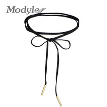Modyle New Fashion Long Black Velvet Choker Necklace Women Steampunk Gold-Color Tube Collar Necklaces(China)