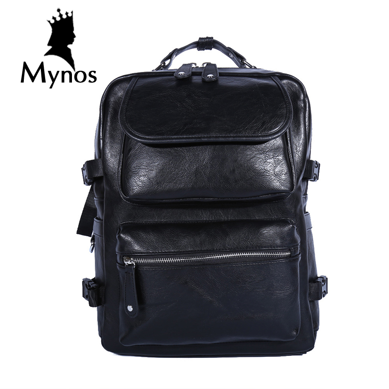 MYNOS New Arrival Casual Leather Backpack Men Waterproof  Travel Laptop Bag Large Capacity Notebook Multifucntion Backpack Male<br>