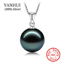 BIG 90% OFF!! original Flawless Black Pearl Pendant Necklace With Solid 925 Silver Chain Necklace Wedding Jewelry for Women N001(China)