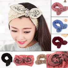 NEW Multicolor women headband Knitting wool winter Turban models twist Crochet headwrap lady cute rabbit ears warm Accessories