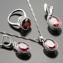925 Logo Alluring Red Garnet  Jewelry Set For Women l Rings/Earrings/Necklace/Pendant
