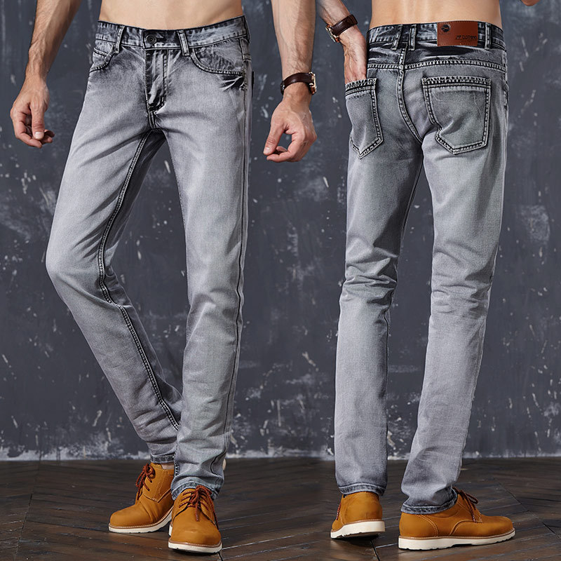 Fashion Mens Jeans Slim Water-washed Straight Men Pants Light Gray Full Length Trousers 2017 Casual Mens Clothes AMP165001Одежда и ак�е��уары<br><br><br>Aliexpress