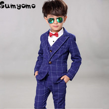 2017 Boys Wedding suits 3 pieces Vest Pant Blazer Jacket Set Kids Tuxedo Suit Baby Spring Clothing Set Formal Dress(China)