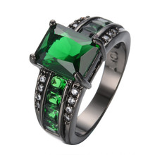 Wedding Bands For Couples Green Ring Black Gold Filled CZ Finger Rings For Female Male Promotion Anillos Bijoux RB0496
