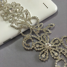 Rhinestone Flower Applique  1pcs silver base  sew on  applique 20X6cm  use for wedding dress ornament Free shipping