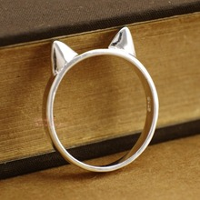 Wholesale 30% Off When Buying 5 - 925 Sterling Silver Cat Ear Animal Above Knuckle Mid Midi Finger Ring for Women A3271