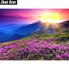 New Generation DIY 5D Diamond Embroidery Landscape Sunrise and Purple Flower Pattern Painting Rhinestones Diamond Mosaic Kits zx(China)