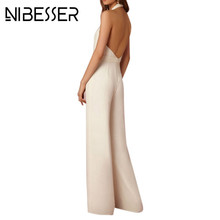 Buy NIBESSER Sexy Fashion Backless Halter Wide Leg Pant Deep V-Neck Jumpsuit Women Bodysuit Sleeveless Long Romper Formal Overalls