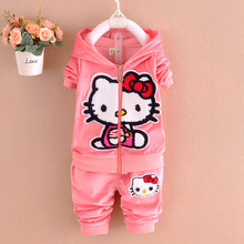 Children Clothes New Baby girls clothes 2pcs Velvet Hello Kitty Cartoon Hoodies coat and Pant sports baby Clothing Sets