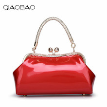 QIAOBAO Brand Women's Patent Leather Shouldle bag Women Leather Hobos High Quality Bags Bride Tote Bag Fashion Handbag(China)