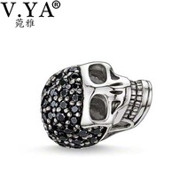 Skull Charms Beads fit for Pandora Chain for Man Jewelry Skull Beads with Zircon  DIY Necklace Bracelet for Men Hot Sale  TZ028
