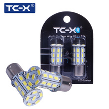 TC-X 2pcs/Pair P21W 1156 27 LEDs 5730 SMD 12V BA15S High Power Bright White Car Tail Light Bulb Brake Lights Auto Reverse Lamp(China)