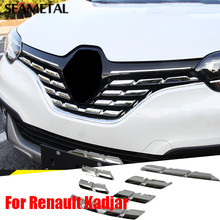 For Renault Kadjar 2016 2017 Chrome Trim Chromium Styling Car Front Grill Grid Covers Exterior Decoration Auto Accessories