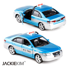 New 1:32 Scale Hyundai Sonata Taxi Alloy Metal Diecast Car Model With Pull Back Sound Light For Kids Birthday Gifts Collection(China)