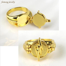 Newest Jewelry Superhero The Flash Ring Can Open Cover Lightning Logo Gold Rings For Men And Women