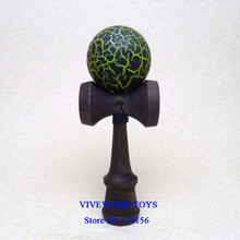 Black/Neon Green Crackle Kendama ball  with Black Stain Beech Handle,  3.22US wholesale 18CM Kendama with the metal rivet