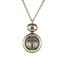 New Vintage Bronze Crucifix Cross Hollow Quartz Pocket Watch Necklace Pendant Women Men's Gifts LXH