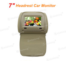 "One Pair Quality 7"" Headrest Car Monitor Player with Dual Videos Input Stylish Zipper Cover"