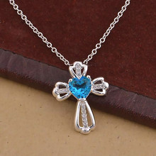 Popular Fashion Necklaces Vintage Jewelry Red Green Blue Heart CZ Floating Charms Pendant Cross Necklace Women collares mujer(China)