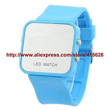 Fashion LED Watch 12 Colors Unisex Sports Watches LED Mirror Watch Women Display Silicone Watches Men Wristwatches 100pcs/lot(China)