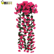 Leafy Violet Artificial Silk Flowers vine rattan for Wedding Home Decor outdoor corridor hanging baskets Wall Fake DIY Bouquet