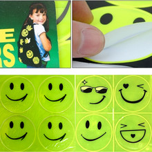 1Sheet(4pcs) 5CM Waterproof Reflective Sticker Smile Face for Motorcycle Bicycle Kids Toy Car Styling For Suzuki Honda Yamaha(China)