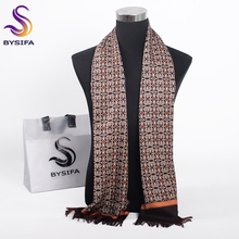 [BYSIFA] Winter Coffee Gold Men Scarves Fashion Accessories Male Warm Long Scarf Brand Business Leisure Tassel Scarves 160*26cm(China)