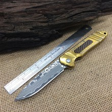 Newest,Outdoor Tools,Damascus Folding Knife,Titanium Sheet Steel Handle Hunting Camping Knives,Best Quality