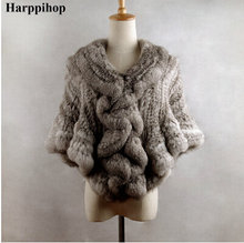 Harppihop 2017 women's rex rabbit fur cape rabbit hair fur cloak short design fur shawl poncho free shipping