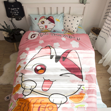 100% Cotton Textile cat Active Cartoon Four Piece Bedding Set Personality Free Shopping(China)