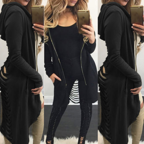 Women-039-s-Cut-Out-Back-Hooded-Hoodie-Midi-Long-Cardigan-Trench-Coat-Zip-Up-Tops