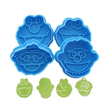 Cute 4 pcs/set Useful Baking Tool 3D Sesame Street Fondant Cookie Cutter Biscuit Hand Stamp Press Plunger Mould
