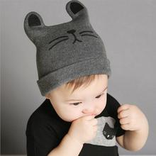 Baby Winter Autumn Hats Kitty Shaped Hat Boy Girls Cat Cap toddlers Beanie Knitted Caps(China)