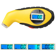 Hot 2016 digita LCD backlight Car Motorcycle Auto Tire Gauge Tyre Air Pressure Measure Tester PSI, KPA, BAR function(China)