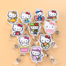 New High quality Acrylic Nurse Retractable Badge reel ID Badge clip Cute Hello Kitty Name Tag Card Holder Reel For School Office(China)