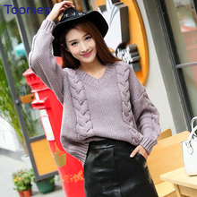 Fashion New Style Retro Sweater Pullovers Casual Loose Long Sleeve Thickened Twist Pullover Knit Lavender Jumper Womens Clothing(China)
