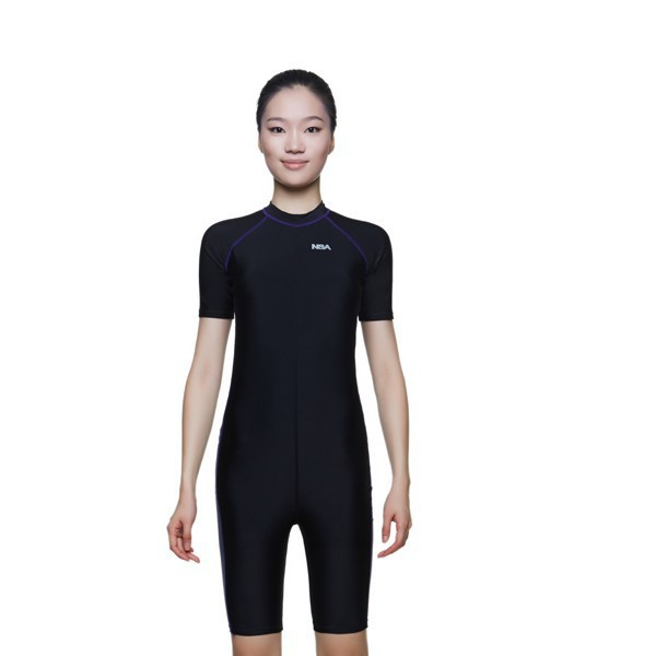 NSA one piece competition training knee length waterproof chlorine resistant womens swimwear plus size swim bathing suit<br>