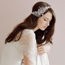 2017 Fashion hanmade crystal bridal headdress soft white wedding accessories vintage headbands bride silver hair accessories(China)