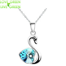 2017 promotion discount girl Fashion women wholesales18KGP Austrian Crystal queen Swan Pendant chain Necklace Jewelry 40885